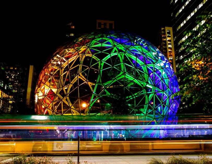 Amazon Spheres with rainbow colors to celebrate Pride