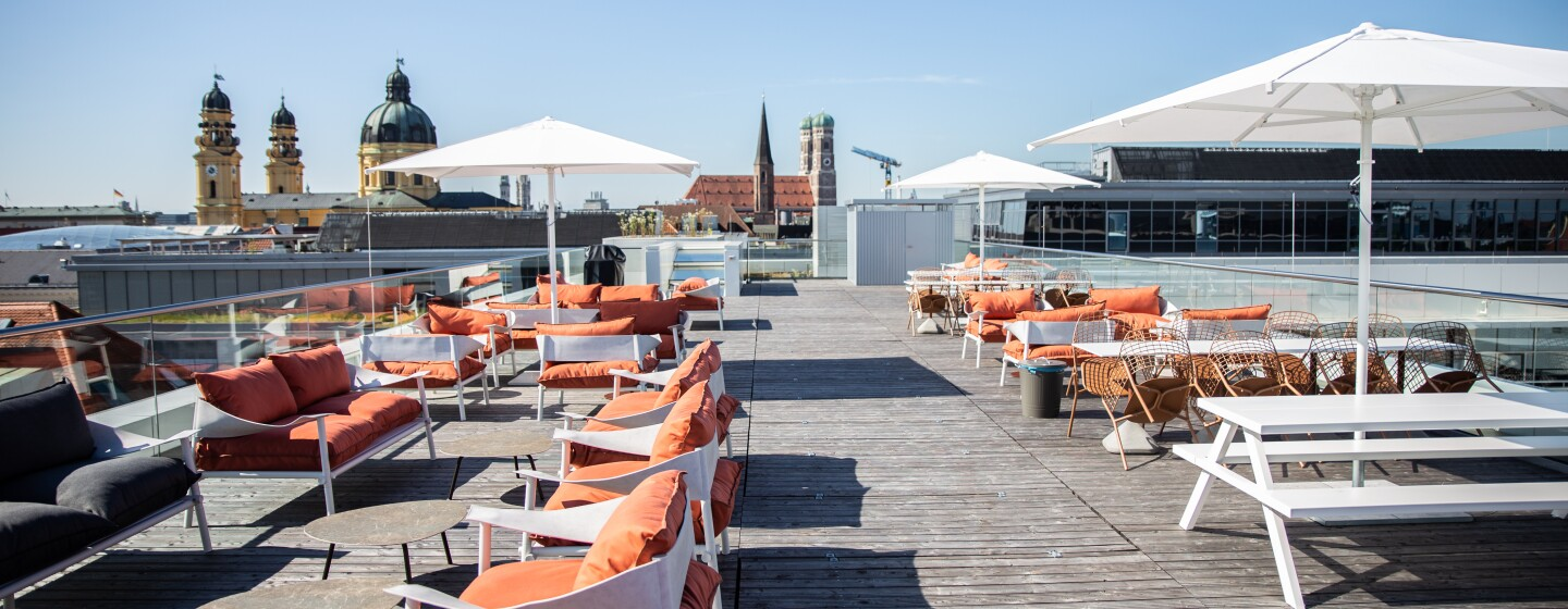 Rooftop terrace at Amazon's new office building in Munich, Germany.