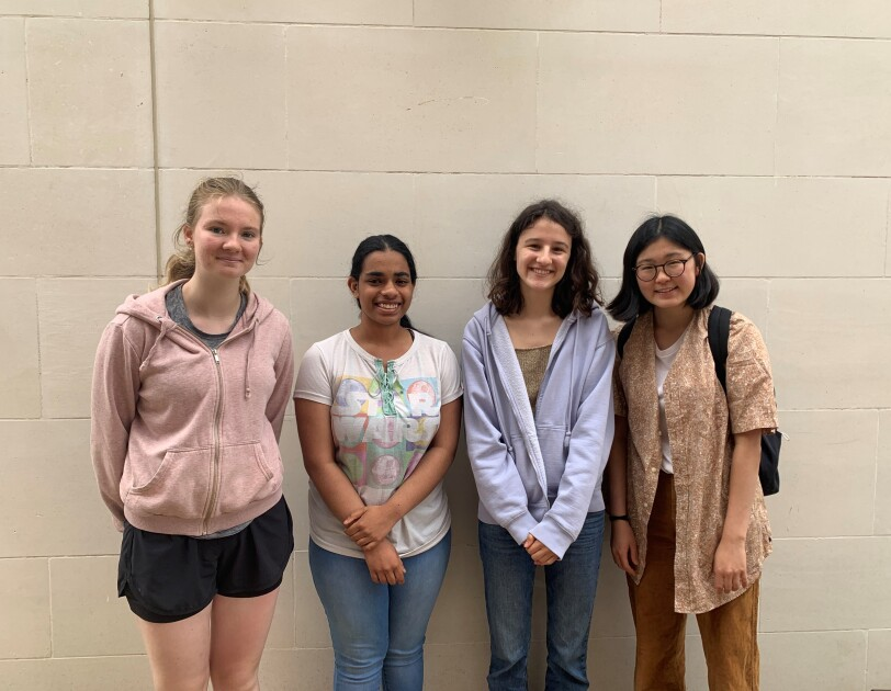 Team pic of St Paul's Girls School L-R Megan Gill, Radhika Iyer, Olympia Adipa, Vivien Wu