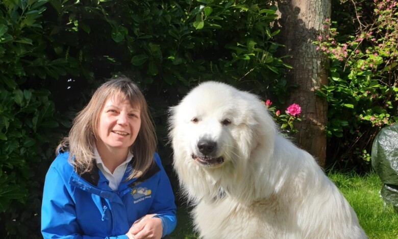 Elaine Warburton, Dunfermline, dog home boarding franchisee (with her dog)