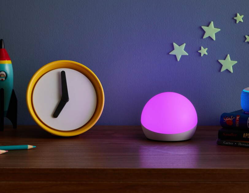 Echo Glow accessory on a kids' dresser.