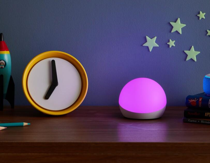Echo Glow accessory on a kids' dresser.
