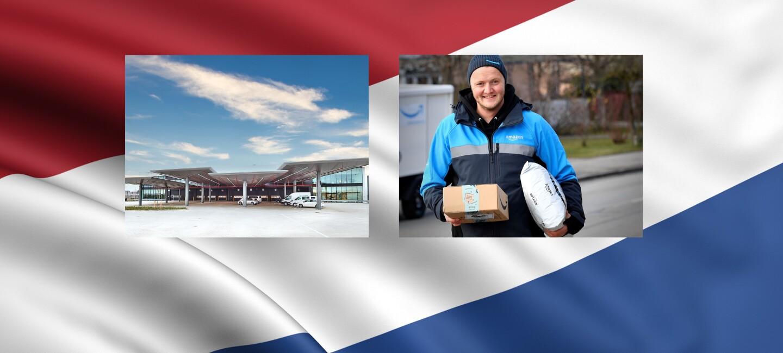 Collage aus Amazon Lieferfahrer, Ortsschild Rozenburg und niederländischer Flagge