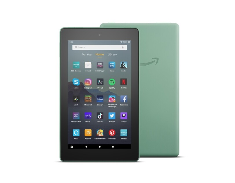 Product shot of an Amazon Kindle Fire.