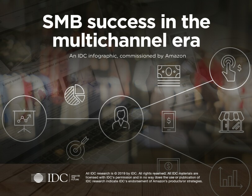 "Graphic that says ""SMB success in the multichannel era"" a cover page for an IDC study comissioned by Amazon"