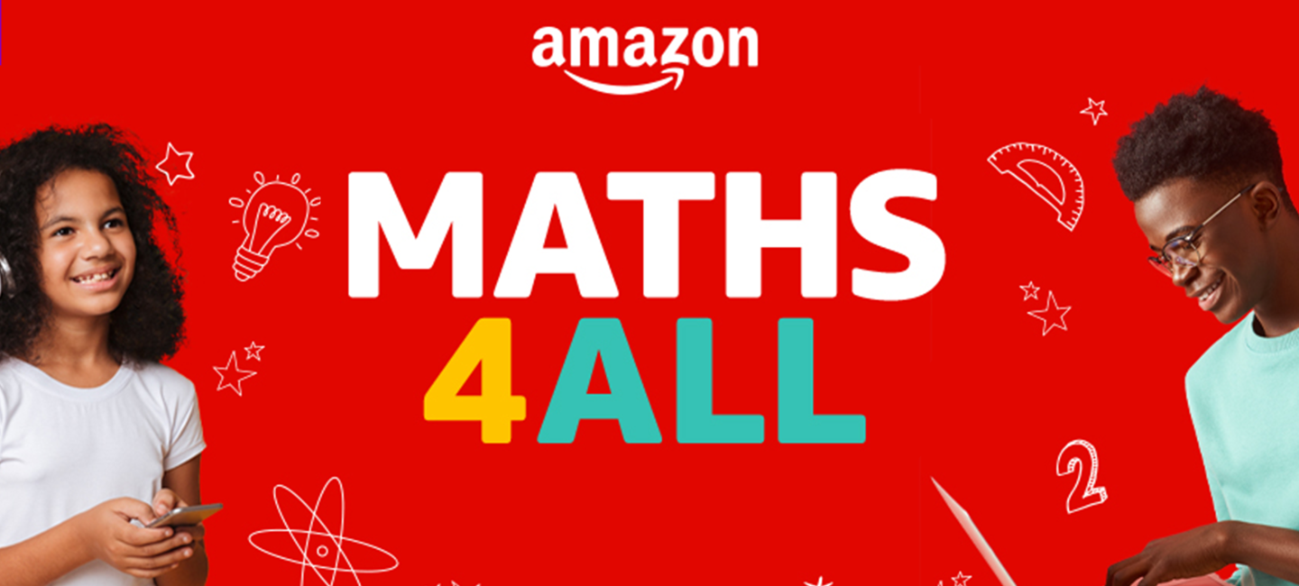 Red banner with children playing with electronic gadgets and the text Maths4All