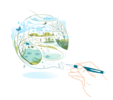 Climate Pledge illustration of a hand drawing an image of a  healthy, green planet.