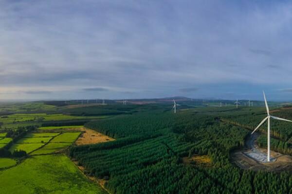 Es un paisaje verde de partes cosechadas y partes de arboleda y se  ven molinnos eólicos. La mitad de la foto es el cielo y la mitad el campo y el bosque con los molinos.