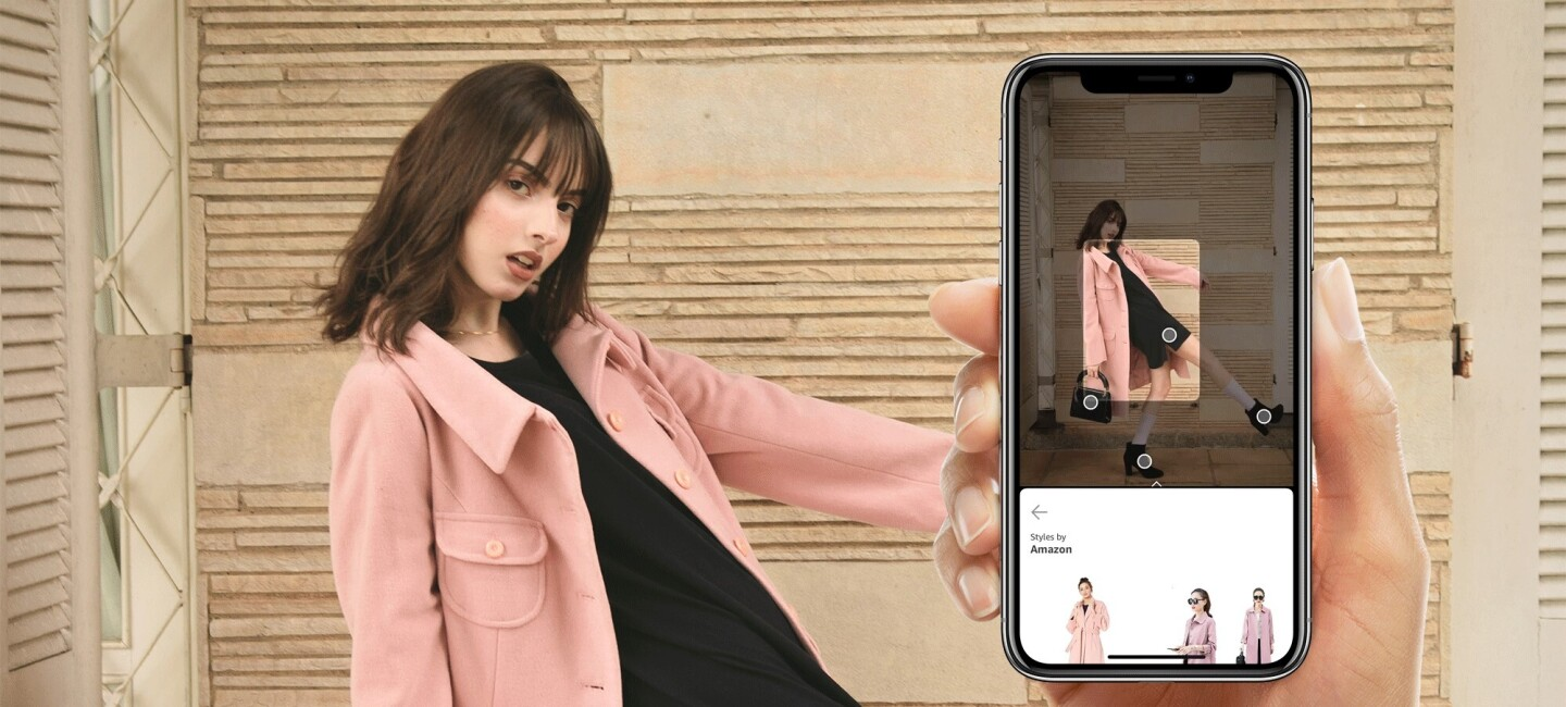Model dressed in pink outfit and iphone in hand for for Stylesnap banner