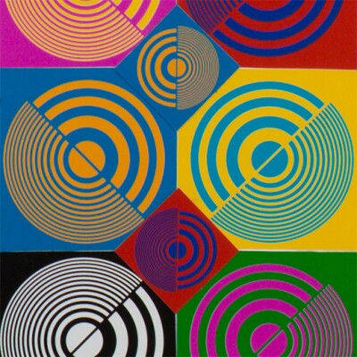 Squares of different colors are overlayed with concentric half circles in contrasting colors.