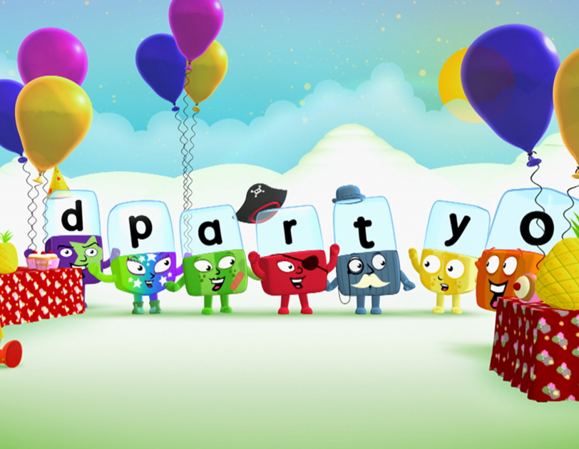 Cartoon characters from Aardman Alphablocks spelling out the word 'party'.