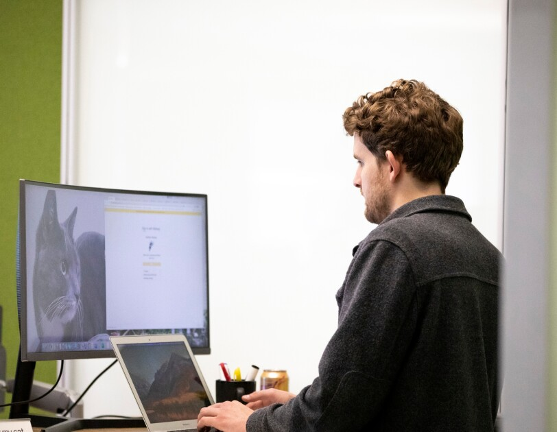 A man works on a computer. His screen shows a large photo of a cat.