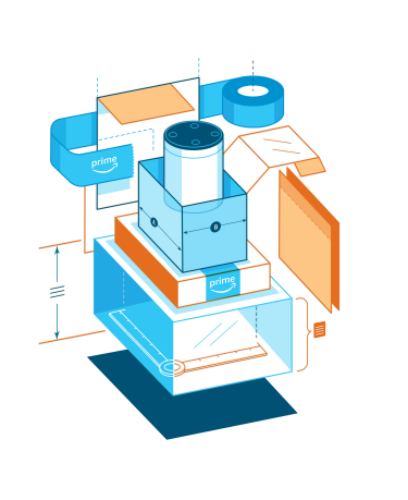 Illustration of the different elements of a package surrounding an Alexa device.