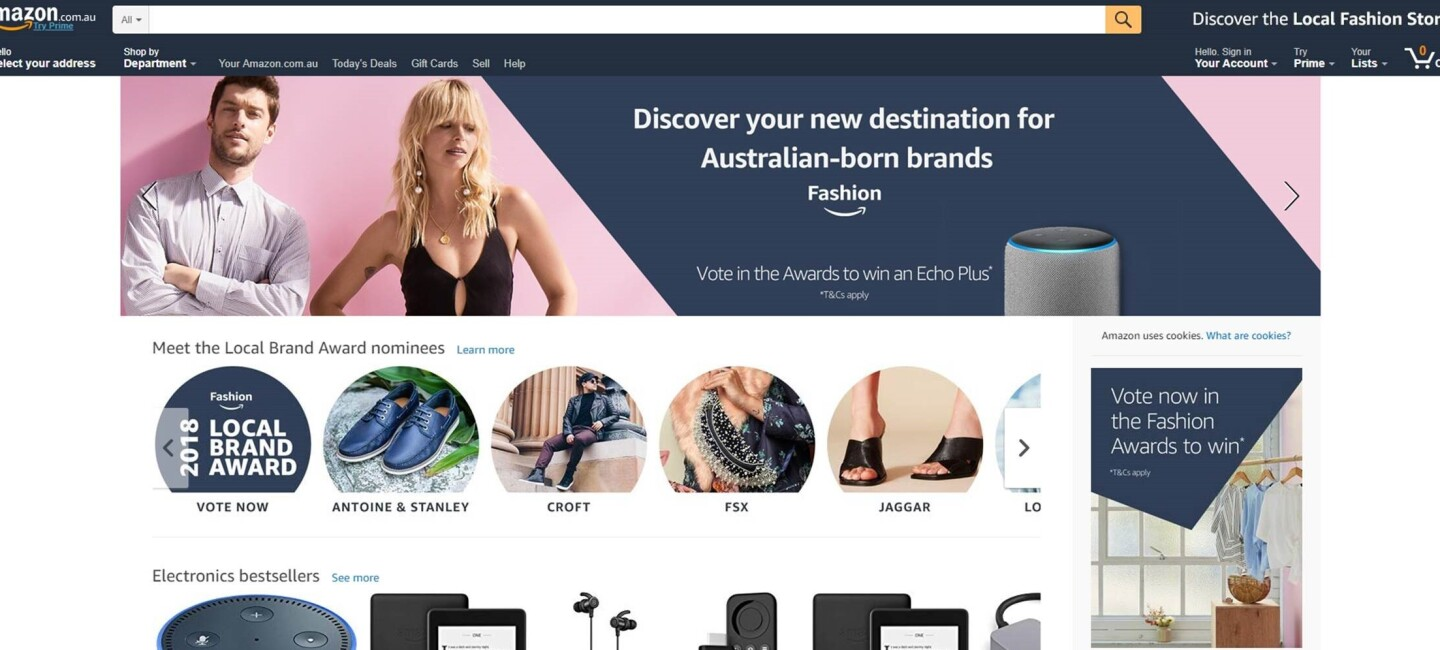 The home page of amazon.com.au announced support for local, Australian brands.