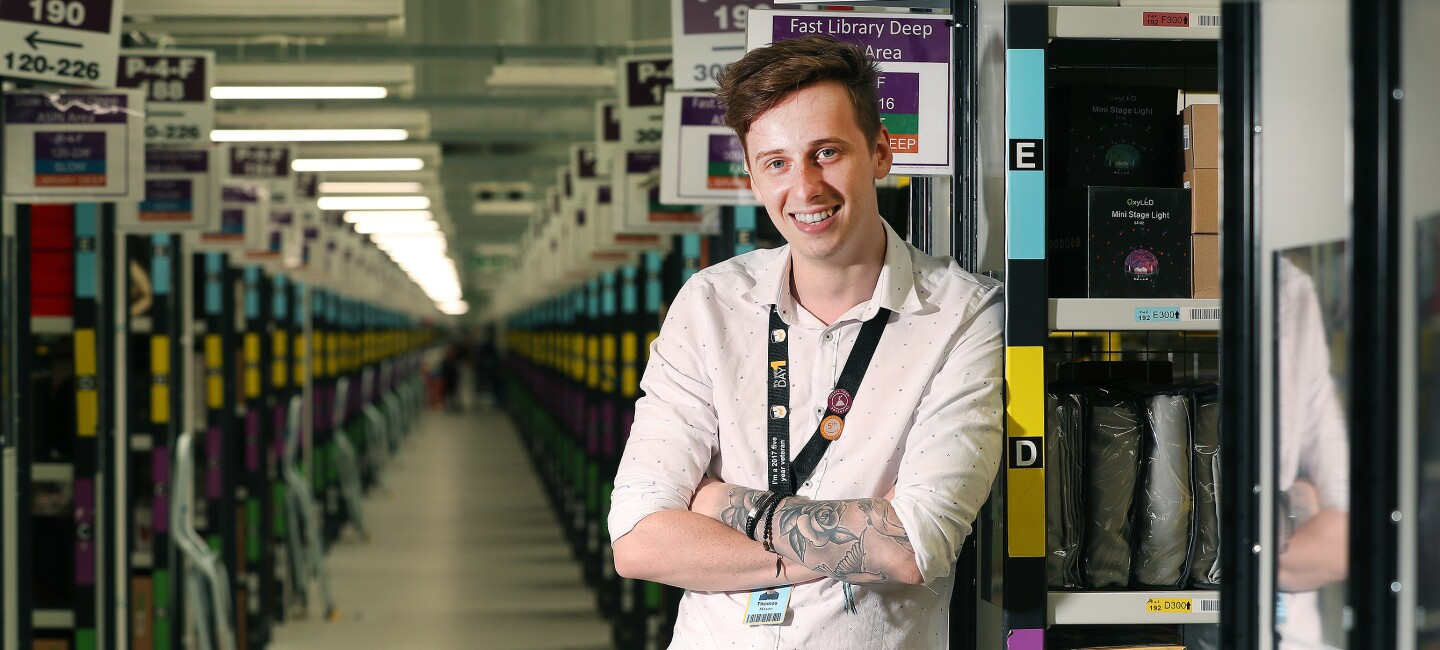 Thomas Mason, health and safety coordinator at Amazon in Rugeley, pictured at work