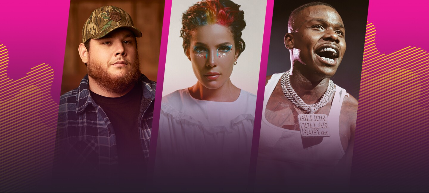 Profile images of three top music stars, featured on Amazon Music.