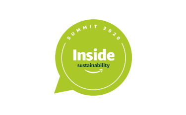 """Green thought bubble with the words """"Inside Sustainability Summit 2020"""" and the Amazon smile logo in white"""