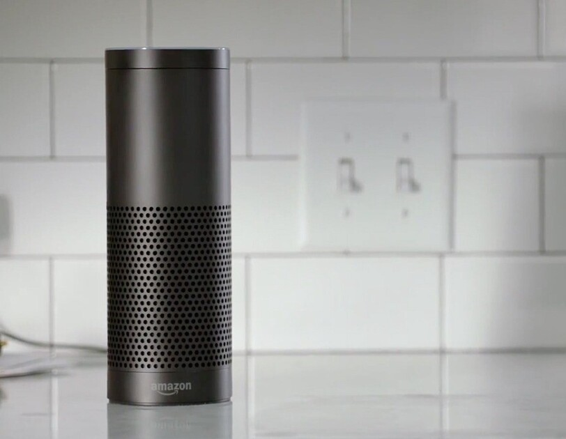 Amazon Echo device in kitchen setting