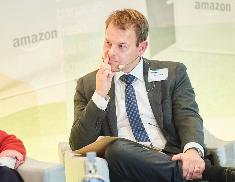 Daniel Dalton, Member of the European Parliament at Amazon Academy listening to other panelists.