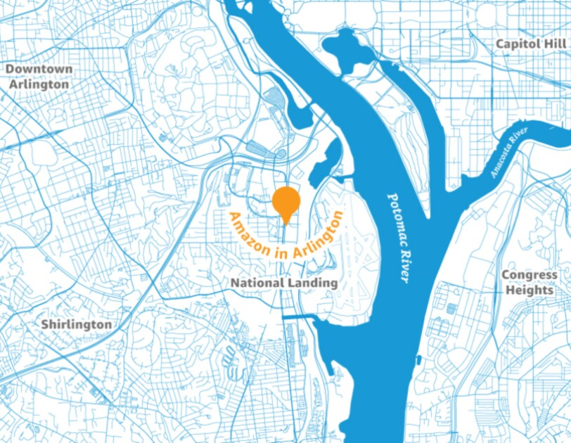 Map of the Arlington area with a pin placed to illustrate the location of a new Amazon headquarters.