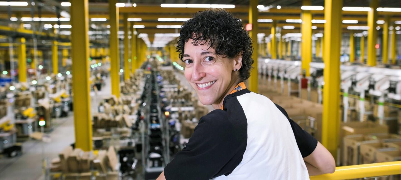 Kirsty Mallinder, safety coordinator at Amazon in Warrington, pictured at work
