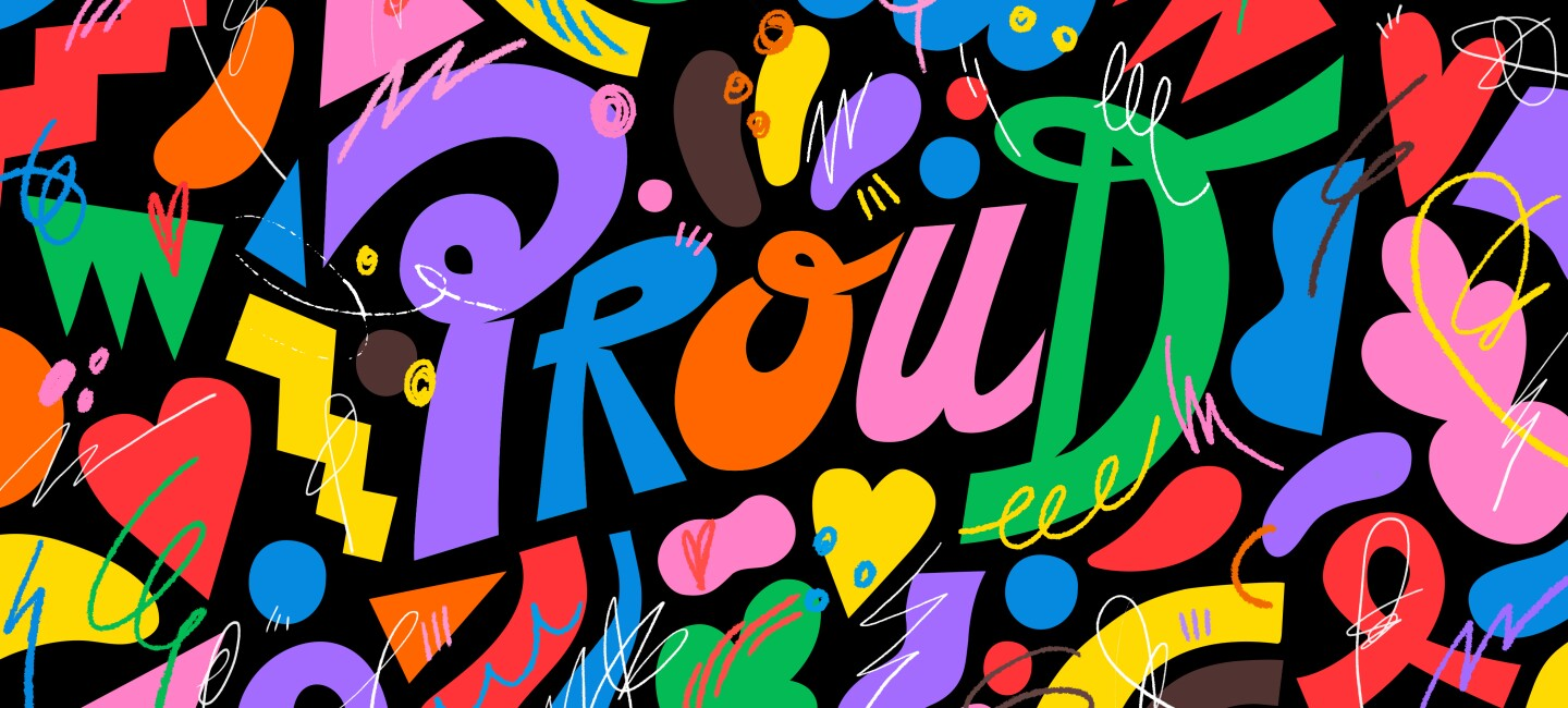 Colourful proud playlist banner in bright colours
