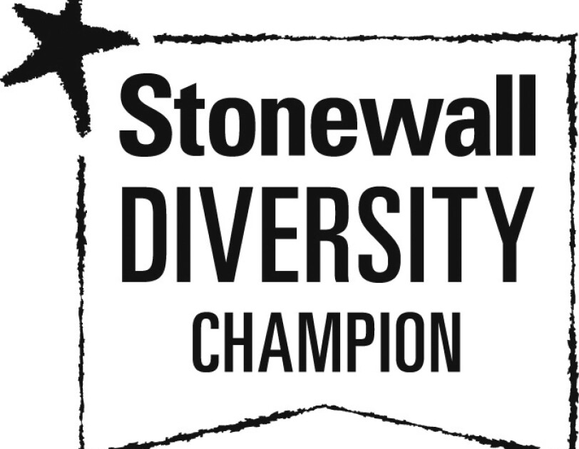 Stonewall Diversity logo in black and white with star in left corner