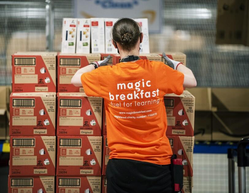 amazon associate helping with Magic Breakfast food donations