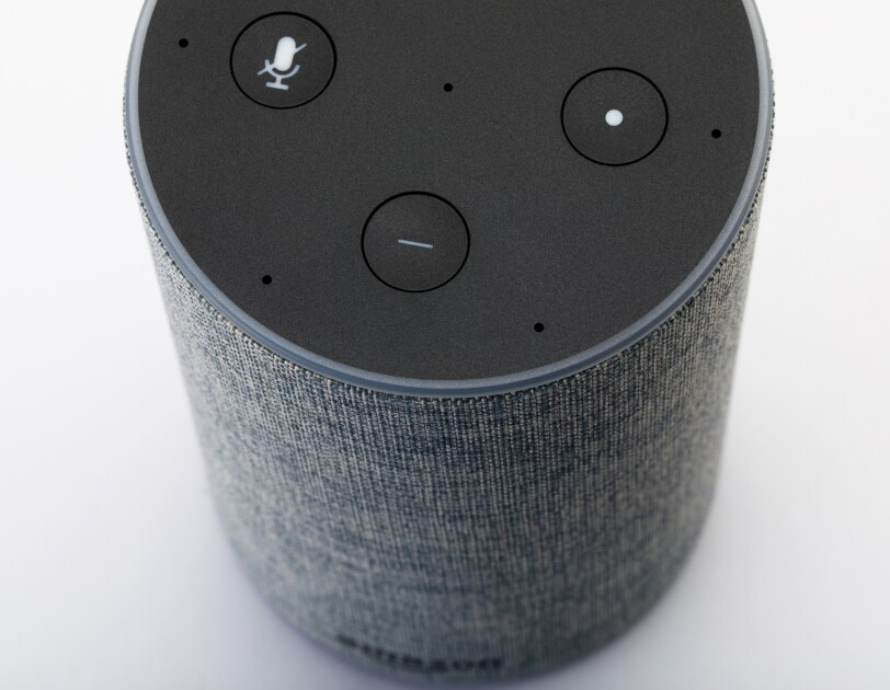 Volume controls for a grey Amazon Echo