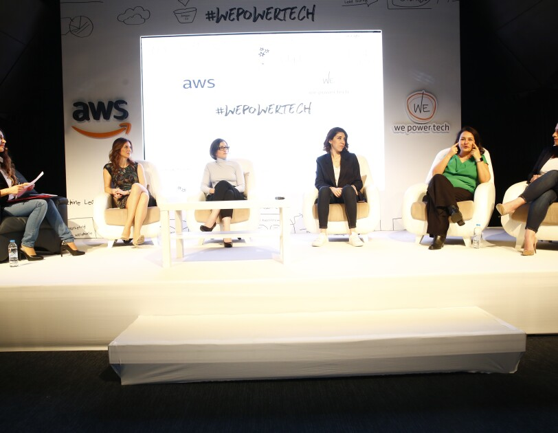 6 women presenting on #WePowerTech on stage