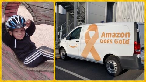 """collage: Links: Ein kleiner Junge mit Radhelm und Trainingshose, rechts: ein Amazon Logistics Lieferwagen mit Aufdruck """"Amazon Goes Gold"""""""