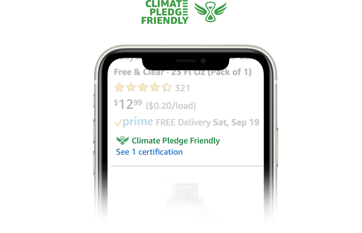 Mobile phone displays Climate Pledge Friendly interface on left-hand side; Climate Pledge Friendly logo on right-hand side.