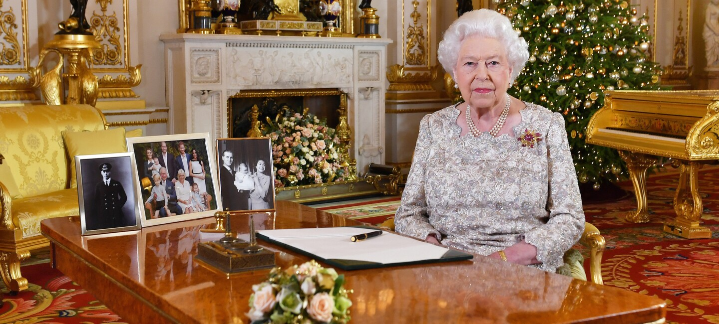 Queen Elizabeth II poses for a photo after she recorded her annual Christmas Day message.