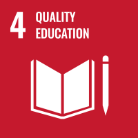 "UN SDG #4 reads ""Quality Education"" and features a open book with a pencil or pen next to it."