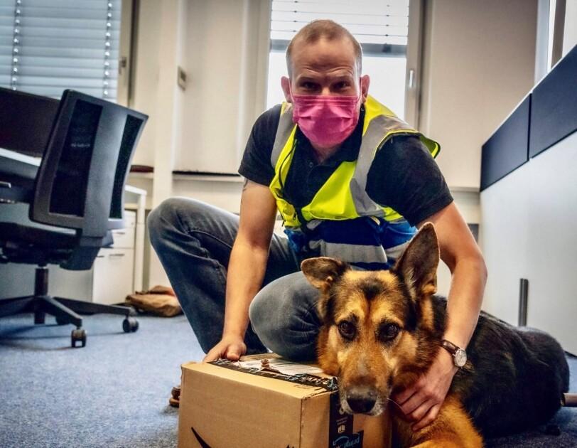 Herrchen mit Hund im Büro