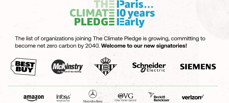 Presentazione di tutti i loghi dei firmatari del Climate Pledge ad oggi: Amazon, Infosys, Mercedes Benz, OVG, RB, Verizon, Best Buy, McKinstry, Schneider Electric, Siemens