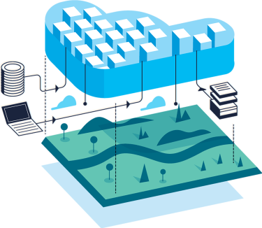 An illustration featuring a cloud, green land, computer server, files and a laptop representing AWS and cloud efficiency.