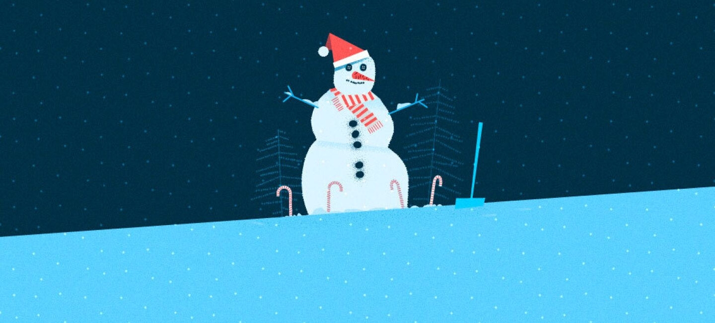 Illustration of a snowman wearing a red cap and striped scarf, with trees behind it and candy canes around it.