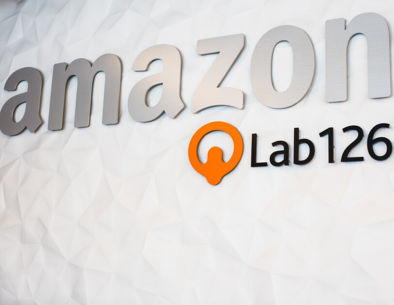 "Signage with the words ""Amazon"" and ""Lab126."""