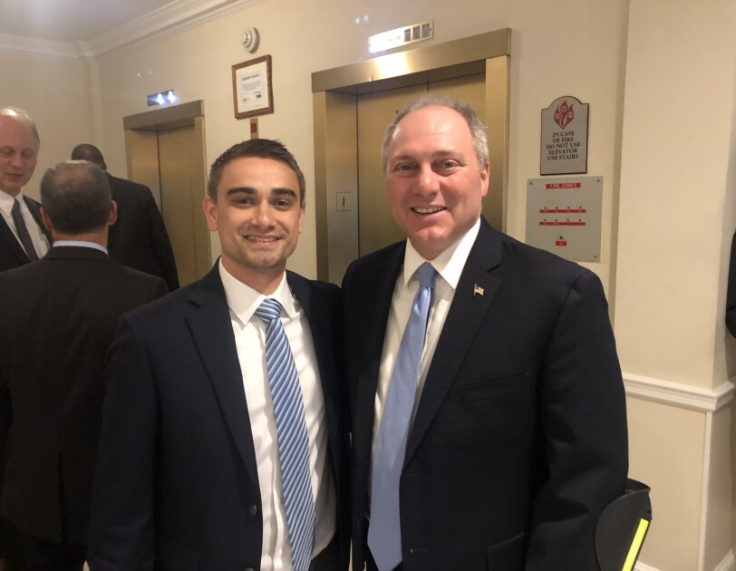 On the left, small business owner Tyler Lecompte, on the right, House Majority Whip Steve Scalise (R - Louisiana)