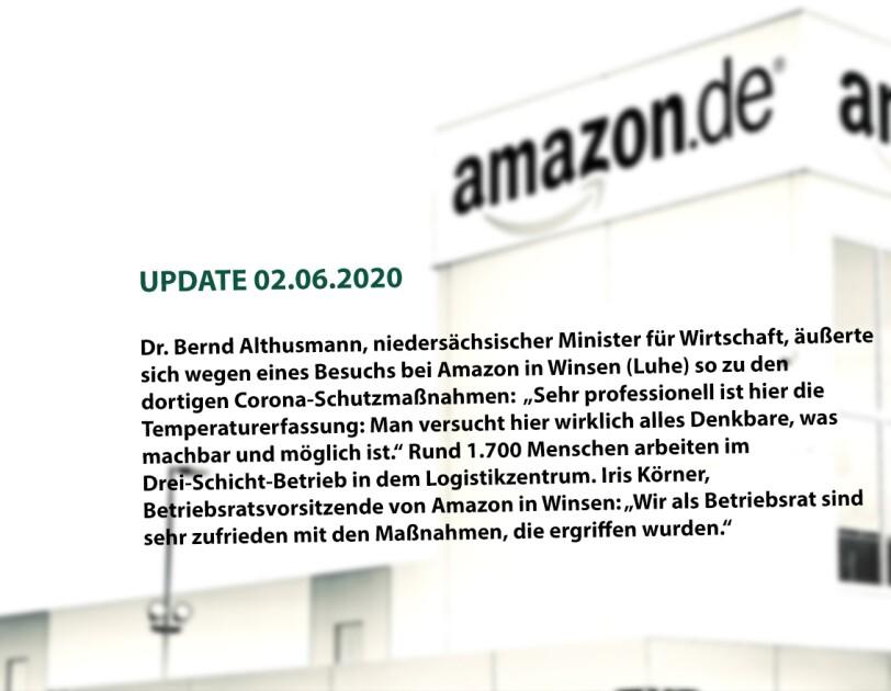 """(UPDATE 02.06.2020) Dr. Bernd Althusmann, niedersächsischer Minister für Wirtschaft, äußerte sich während eines Besuchs bei Amazon in Winsen (Luhe) so zu den dortigen Corona-Schutzmaßnahmen: """"Sehr professionell hier ist die Temperaturerfassung: Man versucht hier wirklich alles Denkbare, was machbar und möglich ist."""" Rund 1.700 Menschen arbeiten im Drei-Schicht-Betrieb in dem Logistikzentrum. Iris Körner, Betriebsratsvorsitzende von Amazon in Winsen: """"Wir als Betriebsrat sind sehr zufrieden mit den Maßnahmen, die ergriffen wurden."""""""