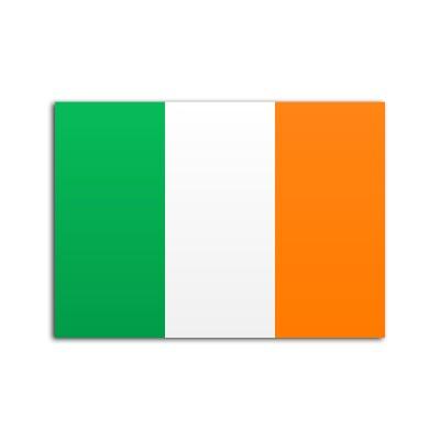 Flat flag of Ireland on white background