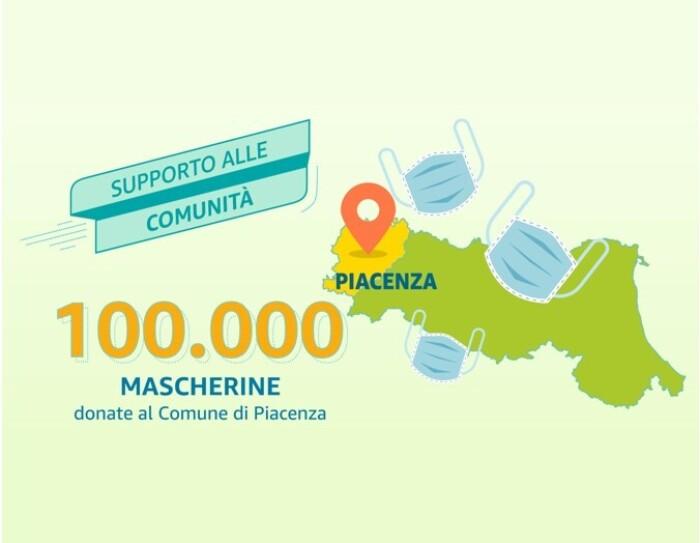 Illustrazione della Regione Emilia Romagna con disegni di 3 mascherine. Sulla sinistra, una scritta recita: '100.000 mascherine donate al Comune di Piacenza'