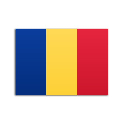 Flat flag of Romania on a white background