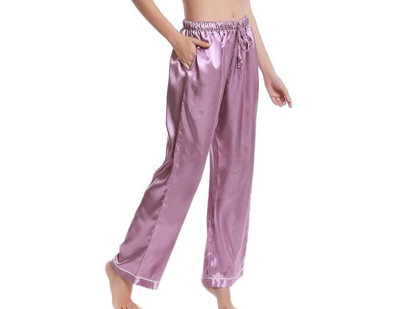 Lavenderi silk satin pajama pants