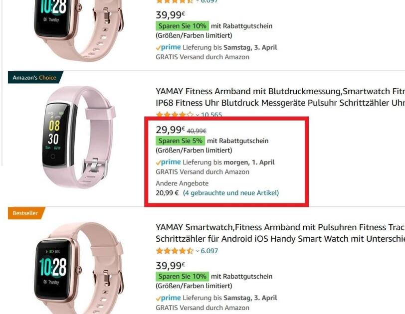 Produktansicht auf der Amazon Seite