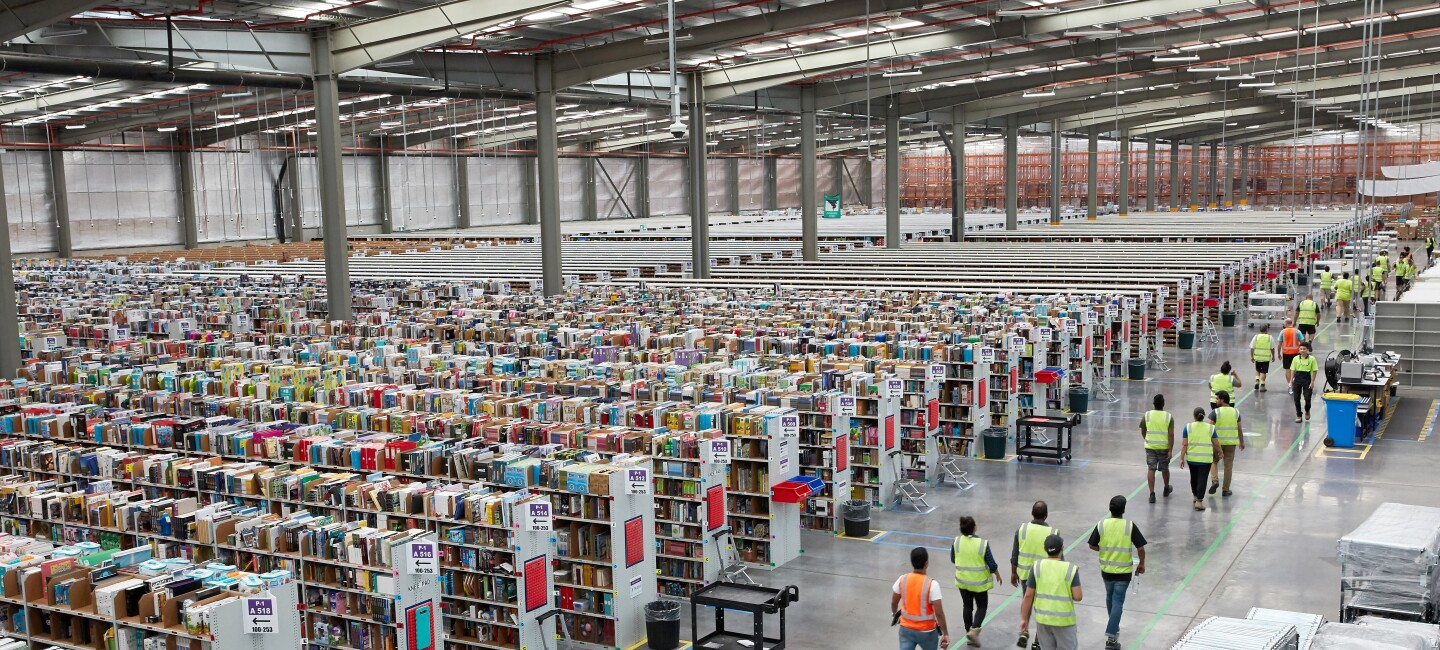 The inside of an Amazon fulfilment centre, or warehouse.