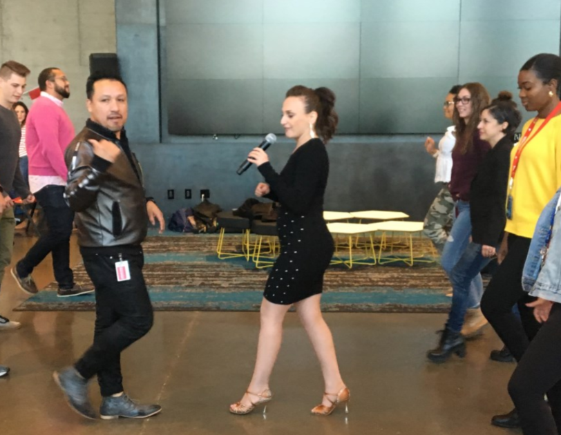 A photo of a Latin dance class at Amazon's Hispanic Heritage Month celebration in 2019.