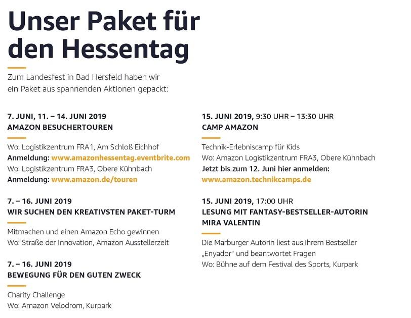 Programm von Amazon für den Hessentag mit Besuchertouren, Camp Amazon, Autorenlesung, Charity-Challenge
