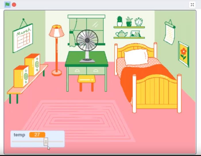 Illustrazione di una stanza da letto. Sulla destra un letto singolo con coperte arancioni, al centro una scrivania verde con un ventilatore. Sulla sinistra una panca con 2 casse acustiche. Il pavimento è rosa.